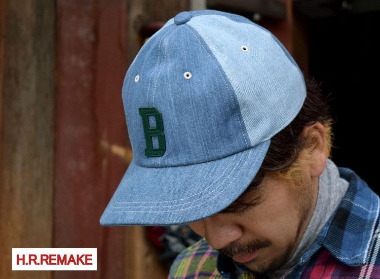画像2: 【雑貨・小物】エイチアールリメイク(H.R.REMAKE)Bワッペン ブルーデニム ベースボールキャップ (2)