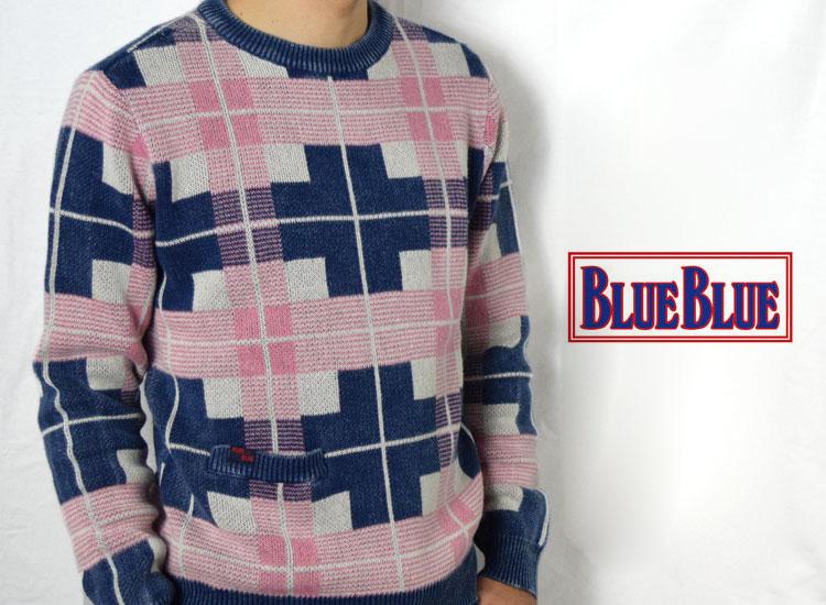 画像2: 【メンズ】ブルーブルー(BLUEBLUE)インディゴコットン プラッドチェックセーター (2)