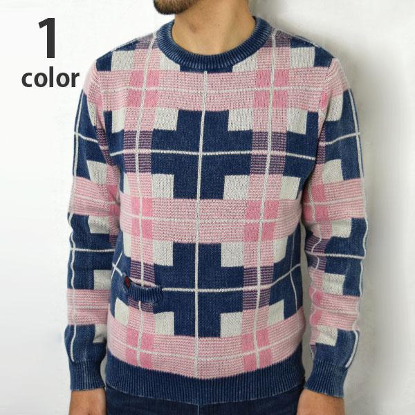 画像1: 【メンズ】ブルーブルー(BLUEBLUE)インディゴコットン プラッドチェックセーター (1)