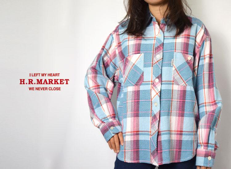 画像2: 【レディース】ハリウッドランチマーケット(HOLLYWOOD RANCH MARKET)スプリングネルチェック デニムカラービッグシャツ ウイメンズ (2)