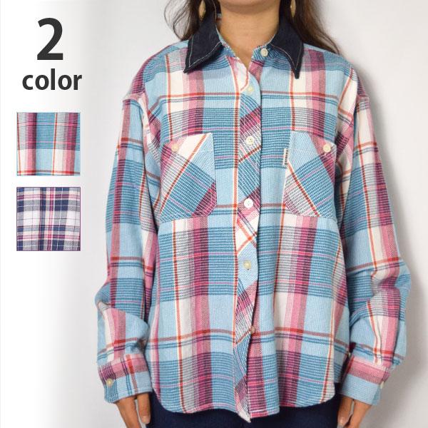 画像1: 【レディース】ハリウッドランチマーケット(HOLLYWOOD RANCH MARKET)スプリングネルチェック デニムカラービッグシャツ ウイメンズ (1)