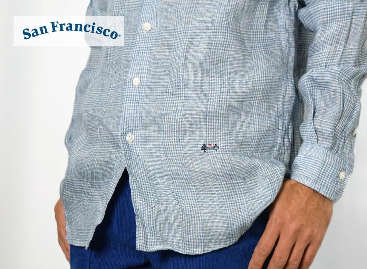 画像2: 【メンズ】サンフランシスコ(San Francisco )インディゴリネン ボタンダウンシャツ (2)