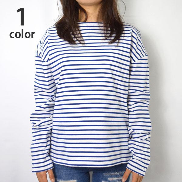 画像1: 【レディース】ブルーブルー(BLUE BLUE)バスクボーダー ボートネック スナップTシャツ ウィメンズ (1)