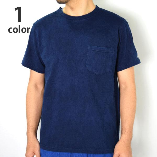画像1: 【メンズ】ハリウッドランチマーケット(HOLLYWOOD RANCH MARKET)GSYポケットクルーネック インディゴダイドTシャツ (1)