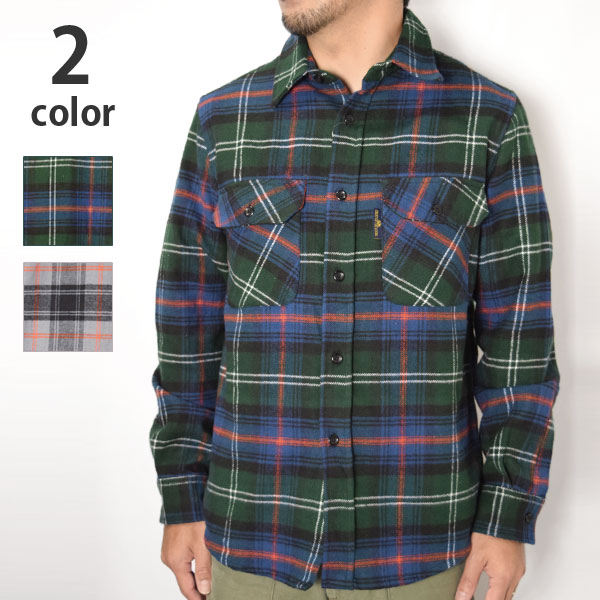 画像1: 【メンズ】フルーツオブザルーム・ブルーブルー(FRUIT OF THE LOOM・BLUE BLUE)ブラッシュドチェックシャツ (1)
