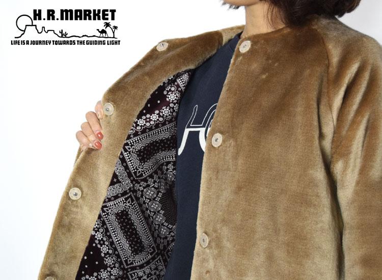 画像2: 【レディース】ハリウッドランチマーケット(HOLLYWOOD RANCH MARKET)ノーカラーファーコート ウイメンズ (2)
