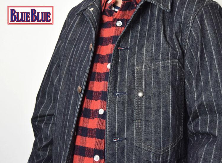 画像2: 【メンズ】ブルーブルー(BLUE BLUE)ドビーストライプデニム カバーオールジャケット (2)