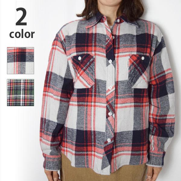 画像1: 【レディース】ハリウッドランチマーケット(HOLLYWOOD RANCH MARKET)ホームスパンブラッシュド インドネルチェックシャツ ウイメンズ (1)