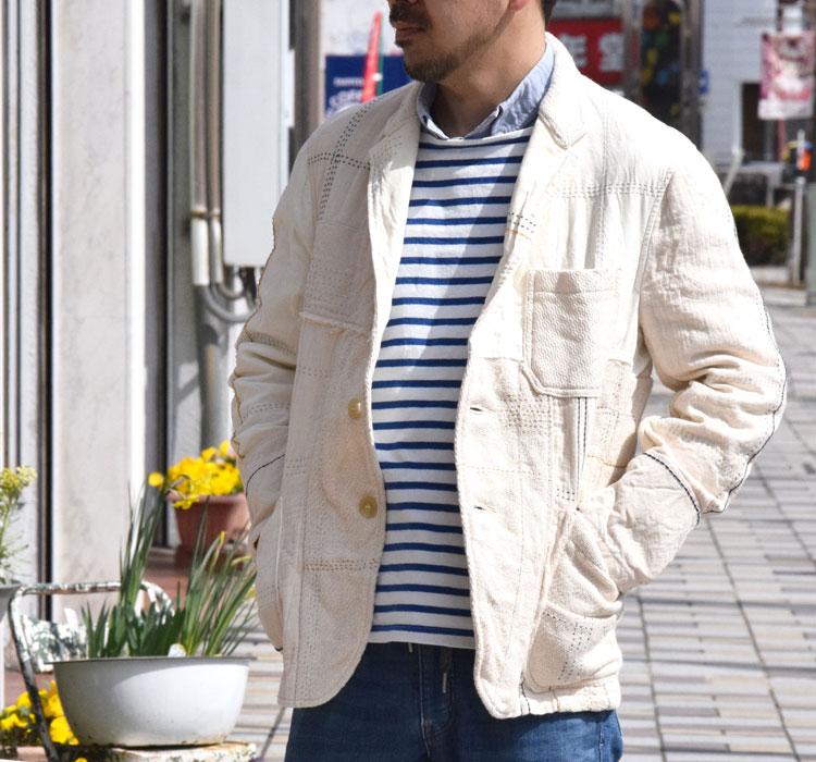 画像2: 【Mサイズのみ】【メンズ】ブルーブルー(BLUE BLUE)アンティークパッチワーク 3Bジャケット (2)