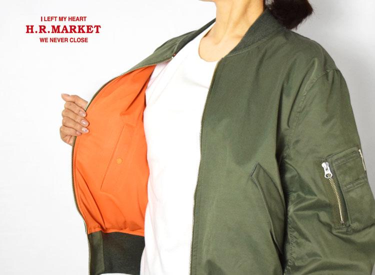 画像2: 【レディース】ハリウッドランチマーケット(HOLLYWOOD RANCH MARKET)ナイロンコットン MA-1 ビッグフライトジャケット ウイメンズ (2)