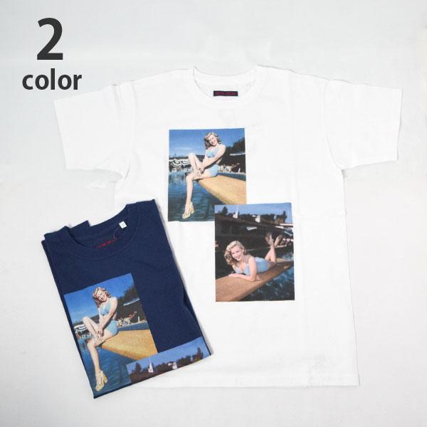 画像1: 【メンズ】ブルーブルー(BLUE BLUE)MARILYN MONROE・ BLUEBLUE POOLSIDE Tシャツ モンロー2020 (1)