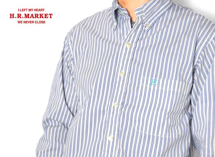 画像2: 【メンズ】ハリウッドランチマーケット(HOLLYWOOD RANCH MARKET)ブロードストライプ Hエンブロイダリー ボタンダウンシャツ (2)