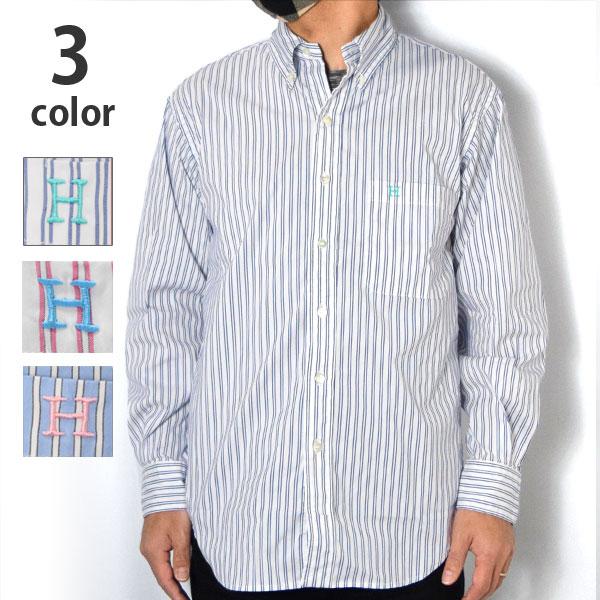 画像1: 【メンズ】ハリウッドランチマーケット(HOLLYWOOD RANCH MARKET)ブロードストライプ Hエンブロイダリー ボタンダウンシャツ (1)