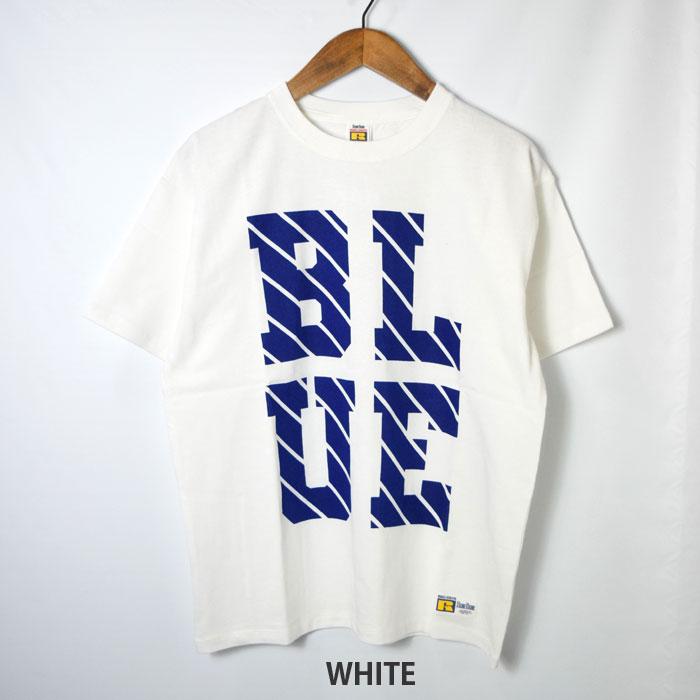 画像2: 【メンズ】ラッセル・ブルーブルー(RUSSELL・BLUEBLUE)RUSSELL・BLUEBLUE ラインロゴ ショートスリーブTシャツ (2)