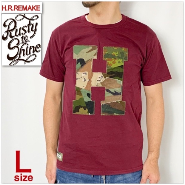 画像1: 【当店別注モデル第四弾】【メンズ・レディース】エイチアールリメイク×ラスティートゥーシャイン(H.R.REMAKE×RUSTY TO SHINE) アソートカモパッチワーク Hパッチ Tシャツ サイズ:L (1)