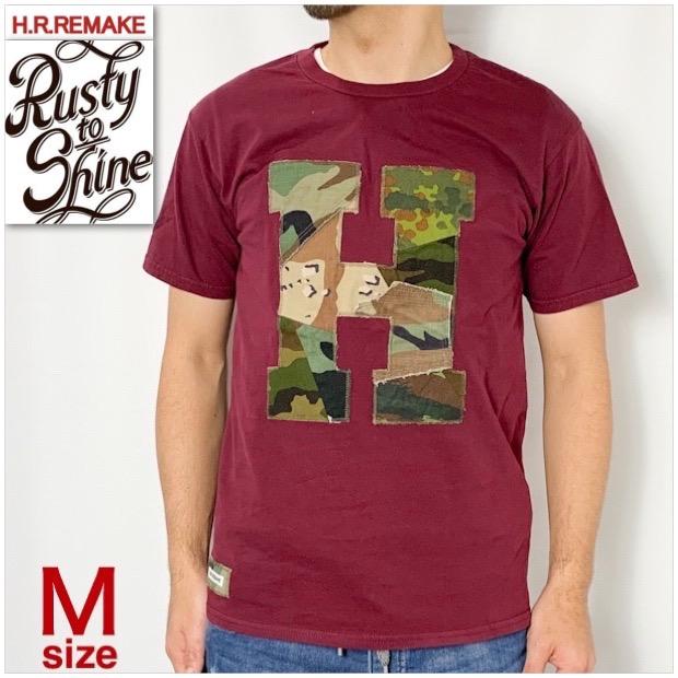 画像1: 【当店別注モデル第四弾】【メンズ・レディース】エイチアールリメイク×ラスティートゥーシャイン(H.R.REMAKE×RUSTY TO SHINE) アソートカモパッチワーク Hパッチ Tシャツ サイズ:M (1)