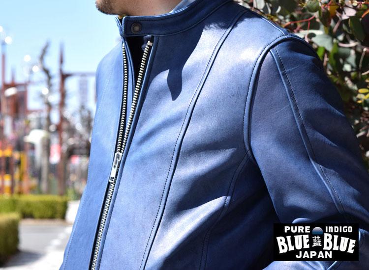 画像2: BLUEBLUE JAPAN インディゴシープレザーシングルライダースジャケット (2)