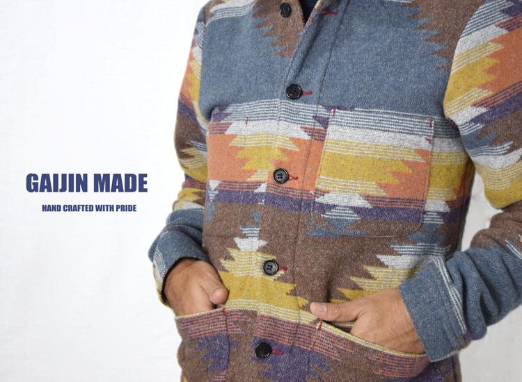 画像2: 【Sサイズのみ】【メンズ】ガイジンメイド(GAIJIN MADE)2018年秋冬モデル ネイティブパターン カバーオール (2)