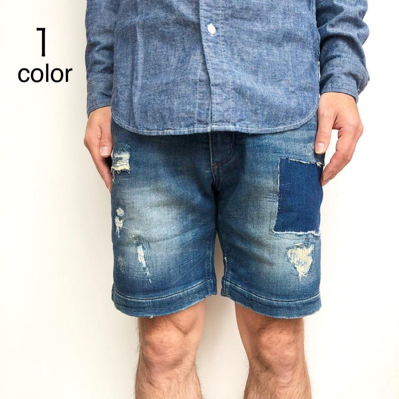 画像1: 【Lサイズのみ】【メンズ】オブレクト(oblekt) DAMEGE BLUE SHORTS (1)
