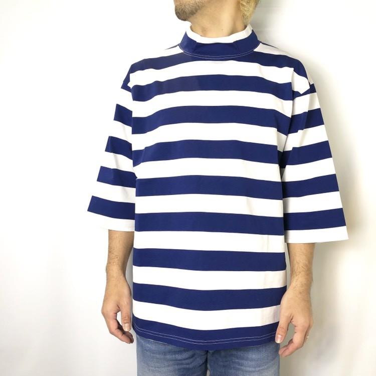 画像2: 【メンズ】ブルーブルー(BLUEBLUE)ワイドボーダー モックネックTシャツ (2)