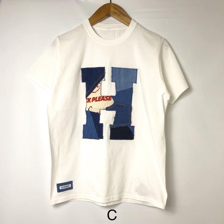 画像2: 【メンズ】エイチアールリメイク(H.R.REMAKE)HRR カットオフパッチワーク HパッチTシャツ (2)
