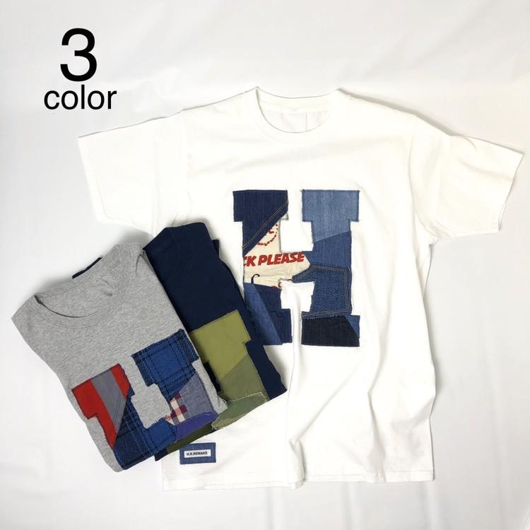 画像1: 【メンズ】エイチアールリメイク(H.R.REMAKE)HRR カットオフパッチワーク HパッチTシャツ (1)