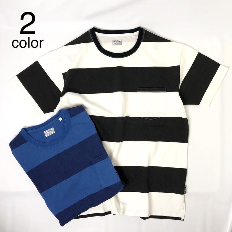 画像1: 【メンズ】ブルーブルー(BLUEBLUE)ピグメントボーダー ポケットTシャツ (1)
