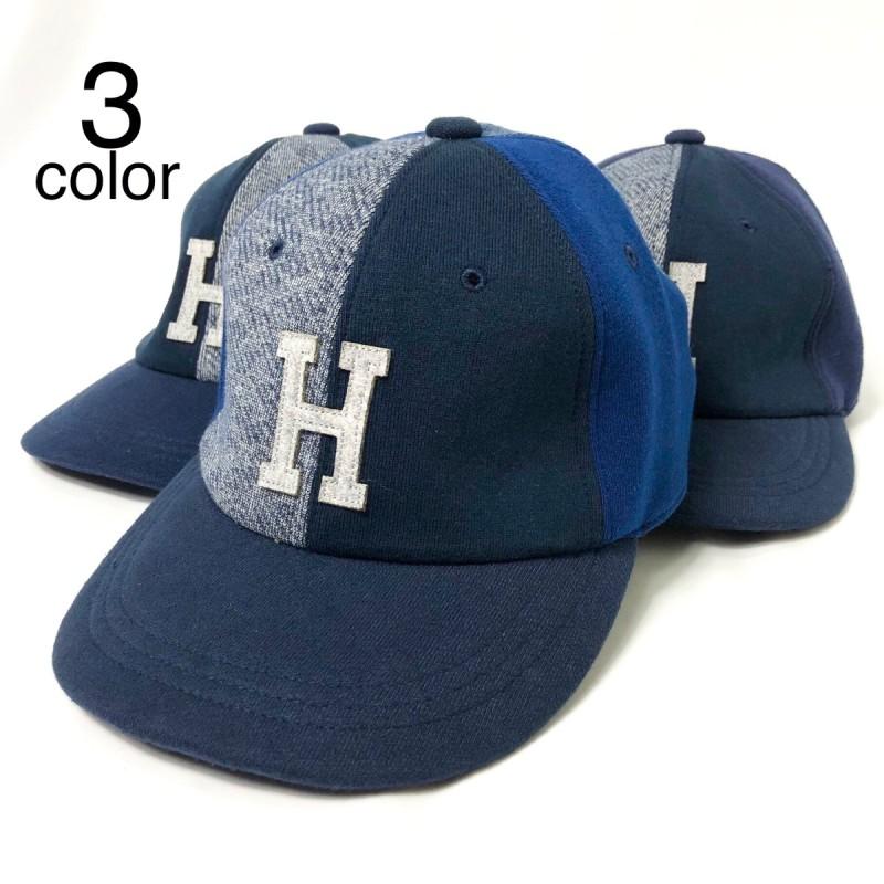 画像1: 【雑貨・小物】エイチアールリメイク(H.R.REMAKE)HRR NAVYスウエット MIXパッチ Hワッペン ベースボールキャップ (1)