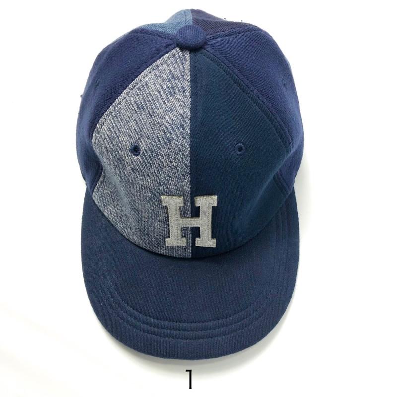 画像2: 【雑貨・小物】エイチアールリメイク(H.R.REMAKE)HRR NAVYスウエット MIXパッチ Hワッペン ベースボールキャップ (2)