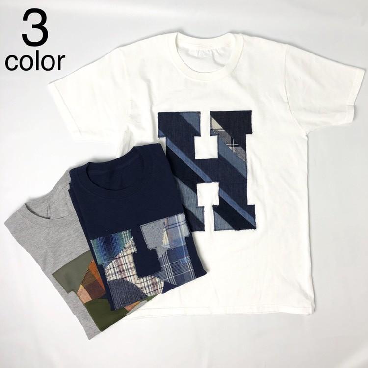 画像1: 【メンズ】エイチアールリメイク(H.R.REMAKE)HRR ミックスパッチワーク HパッチTシャツ (1)