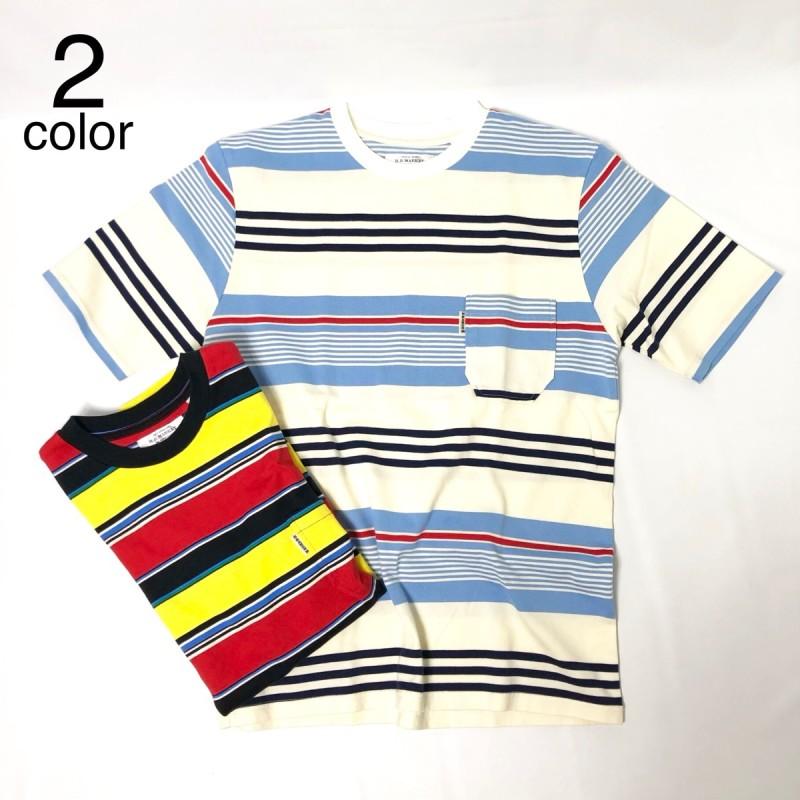 画像1: 【メンズ】ハリウッドランチマーケット(HOLLYWOOD RANCH MARKET)HRMマルチボーダー Tシャツ (1)