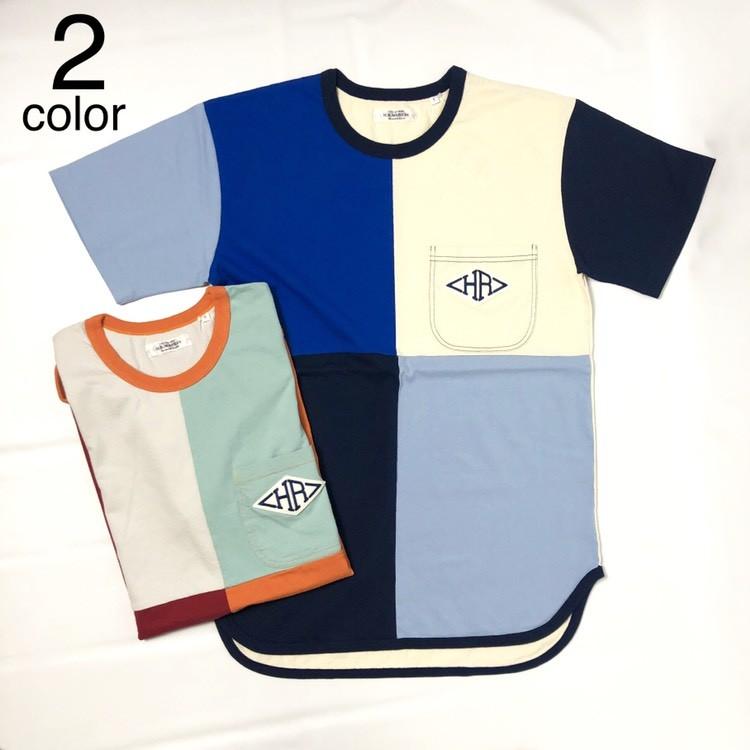 画像1: 【メンズ】ハリウッドランチマーケット(HOLLYWOOD RANCH MARKET)HRワッペン パネルリングTシャツ (1)