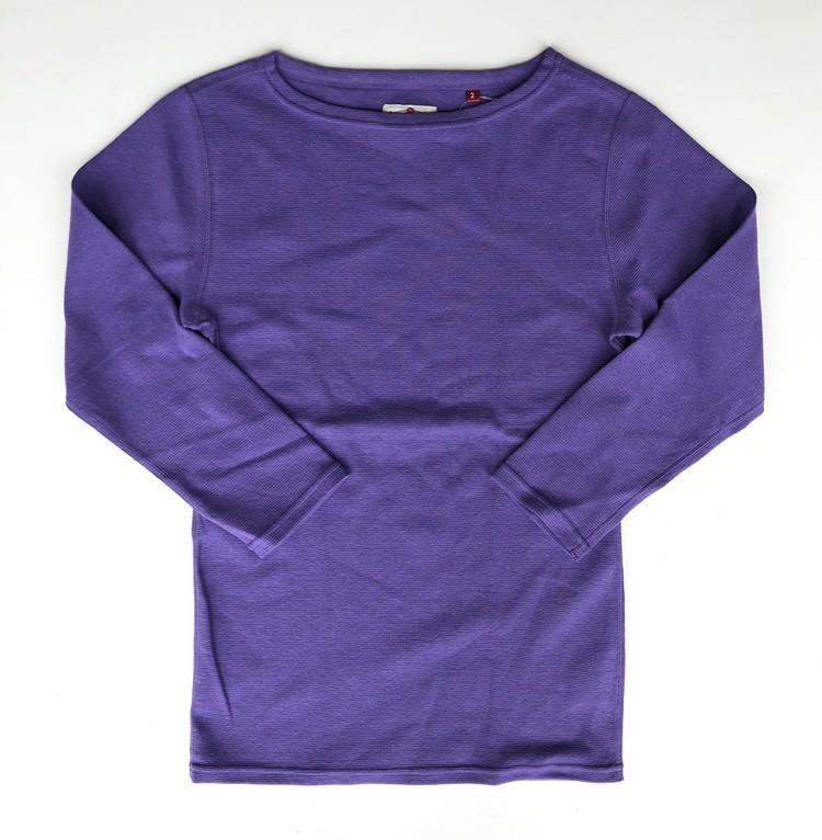 画像1: ハリウッドランチマーケット 『ストレッチフライス レディース ボートネック ハーフスリーブTシャツ カラー:PURPLE』 (1)
