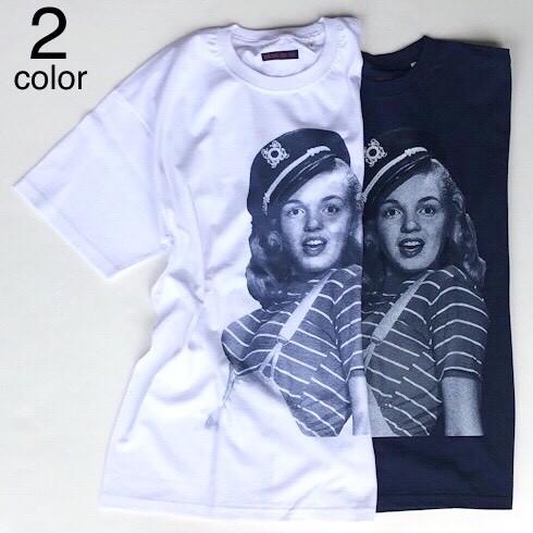 画像1: 【メンズ】ブルーブルー(BLUE BLUE)MARILYN MONROE・BLUE BLUE マリンTシャツ (1)