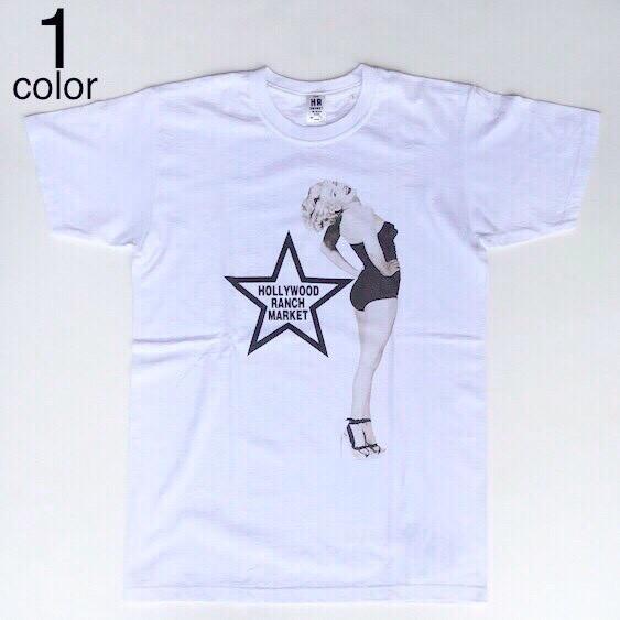 画像1: 【再入荷しました】【メンズ】ハリウッドランチマーケット(HOLLYWOOD RANCH MARKET)MARILYN MONROE・HRM ピンナップTシャツ (1)
